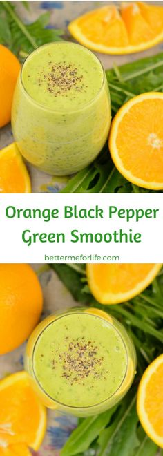 Are you looking for a savory tasting smoothie? This orange black pepper green smoothie is the perfect combination of citrus and spicy black pepper. Recipe at BetterMeforLife.com | orange green smoothie | black pepper green smoothie | green smoothie recipes | healthy green smoothies | green smoothies for weight loss | green smoothie | green smoothie recipes weight loss | green smoothie recipes diet #greensmoothies #greensmoothierecipes #greensmoothie #green_smoothie