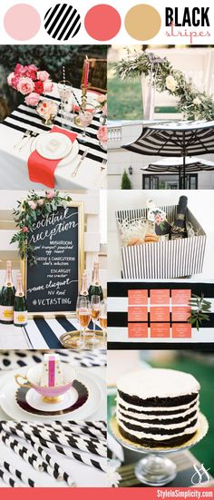Modern Black White Stripes | Wedding Color Palette Inspiration via StyleInSimplicity.com