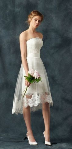Short Wedding Dresses : strapless short wedding dress with lace trim tulle skirt via atelier eme Tulle Skirt Wedding Dress, Best Wedding Dresses, Bridal Dresses, Strapless Dress, Lace Dress, Trendy Wedding, Luxury Wedding, Wedding Dresses Simple Short, Elegant Wedding