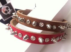 Studded Spiked Genuine Leather Dog Collar with Rhinestone Detail - Medium - Red - Soft Brown by ToxifyDesigns on Etsy