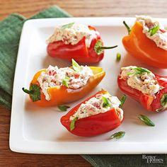 Miniature sweet peppers stuffed with cream cheese, green onions, tomatoes, and spices makes a crowd-pleasing addition to your veggie platter. Serve these peppers alongside other dip-friendly vegetables like carrots, celery, and pea pods.