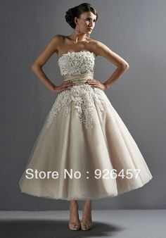 Free Shipping Fashion Hot Sale Strapless Mid-calf Length Appliqued Tulle Short Bridal Wedding Dress WD400 $69.90
