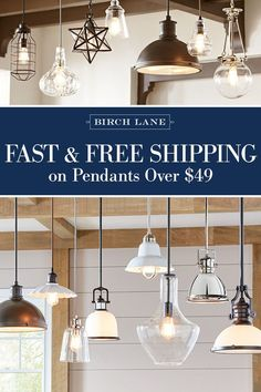Whether you're looking for a statement piece or simply want to brighten up your space, a pendant will shine a new light on your look. Featuring styles that mix traditional influences with modern-day silhouettes and finishes, Birch Lane's selection of pend Farmhouse Lighting, Kitchen Lighting, Home Lighting, Pendant Lighting, Lighting Ideas, Bedroom Lighting, Minimalist Kitchen, Minimalist Interior, Minimalist Decor