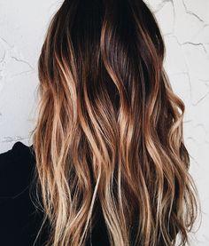 Trendy Hair Highlights : J… Brown Blonde Hair, Hair Color For Black Hair, Brown Hair Colors, Brunette Hair, Balayage Hair, Ombre Hair, Haircolor, Hair Heaven, Beautiful Hair Color