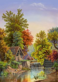 The small cottage by the lake ~ Viktor Tsyganov - Painting Scenery Paintings, Nature Paintings, Beautiful Paintings, Beautiful Landscapes, Watercolor Landscape, Landscape Art, Landscape Paintings, Watercolor Paintings, Cenas Do Interior