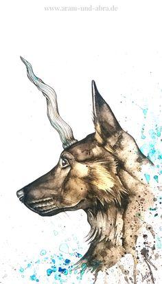 Illustration Aquarell Fantasy: ein Mix aus Hund und Einhorn, der Einherder von Aram und Abra