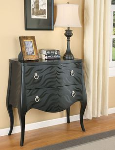 Black Accent Cabinet by Coaster Furniture in Accent Chests and Cabinets. Add some animal print style to your room with this black finish console table, features 2 storage drawers and silver finsh hardware. Entryway Furniture, Accent Furniture, Living Room Furniture, Painted Furniture, Home Furniture, Furniture Ideas, Furniture Showroom, Small Furniture, Black Furniture
