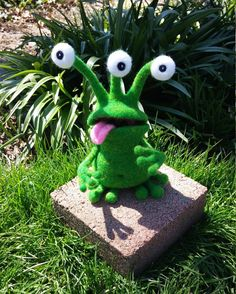 Wool Toy Needle Felted Monster Green Bog by WildWhimsicalNature