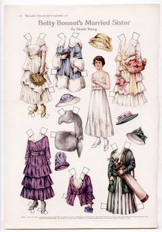 Vintage BETTY BONNET'S MARRIED SISTER Paper Dolls Page Sept. 1916 uncut/GOLF+