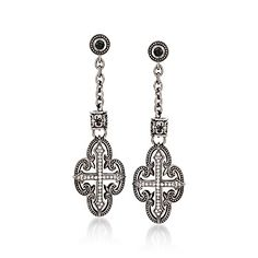 Scott Kay, Black Spinel and White Sapphire Drop Earrings in Sterling Silver | www.goldcasters.com