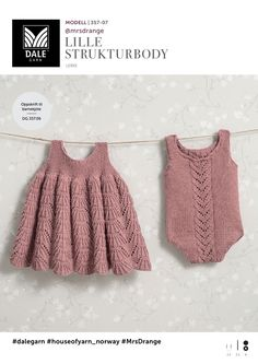 Se og udskriv gratis opskrift her. Knitting For Kids, Baby Knitting Patterns, Knitting Yarn, Baby Barn, Knit Baby Dress, Baby Design, Kids And Parenting, Lace Shorts, Knit Crochet