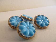 Vintage Buttons Glass blue Pierced with gold Opaque by mybestgoods, $5.45