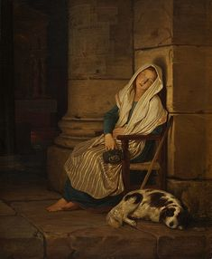 Philipp von Foltz Sleeping Italian beggar girl in a Roman church, 1836