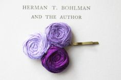 Purple Shades Rosette Bobby Pin Pure Silk Rolled by Brydferth, $15.00