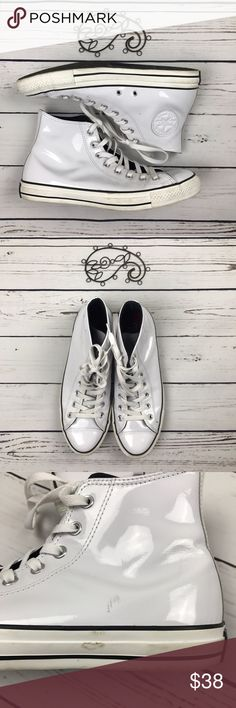 Converse All Star Chuck Taylor WhiteLeather Unisex Converse all star chuck Taylor's in EUC with just a few spots. Check the pics for the few minor scrapes. Men's 9.5. Ladies 11.5. Converse Shoes Sneakers