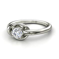 Round Diamond 14K White Gold Ring   Hercules Knot Ring   Gemvara
