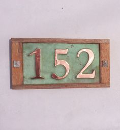 """Copper and Oak Wood House number, 3 x 4""""/100mm handmade in UK, polished and laquered on Etsy, $80.16"""