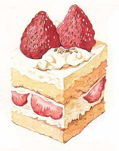 New Cake Illustration Cute Kitchens Ideas Cupcakes, Cupcake Torte, Dessert Illustration, Food Sketch, Watercolor Food, Food Painting, New Cake, Food Drawing, Macaron
