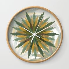 Leafy Wreaths Wall Clock by weivy Pattern Flower, Face Towel, Presents For Friends, Good Cause, Hand Towels, Clock, Tapestry, Wreaths, Throw Pillows