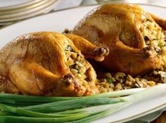 A fantastic recipe to make for a special dinner for I make them lots of different ways, but this way is nice for those romantic occaisions and want them to be extra special and pretty. (Photo from bing images) Cornish Game Hen, Stuffing Recipes, Rice Stuffing, Cornish Hen Recipe With Stuffing, Mushroom Recipes, Bacon Mushroom, Thanksgiving Recipes, Christmas Recipes, Thanksgiving 2017