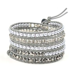 Gray Pearl and Crystal Wrap Bracelet ($28) ❤ liked on Polyvore featuring jewelry, bracelets, beaded bangles, beaded jewelry, crystal beaded jewellery, pearl bangles and crystal jewelry