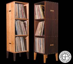 This handcrafted Vertical Record Album Storage Unit is made of the finest quality hard woods with hand cut dovetail joinery and doweling. Each will hold