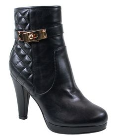 Take a look at this Black Quilted Mimi Bootie on zulily today!