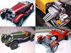 Antique Sports Car Papercraft Models | Tektonten Papercraft From the upper left going clockwise, pictured above are an Alpha Romeo, two American hot rod roadsters, and an Aston Martin.