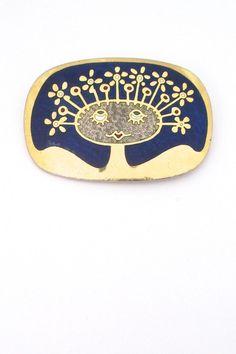 de Passille-Sylvestre, Canada - vintage enamel 'happy hairdo' brooch