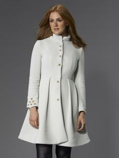 This coat has no place in my wardrobe, but that doesn't keep me from swooning over it. MusicBox In V-Wool-Dove wool coat by Vaute Couture