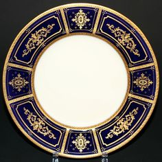 10 Antique Minton Cobalt Gilded Service or Dinner Plates  For Tiffany & Co NY H3313. 1917