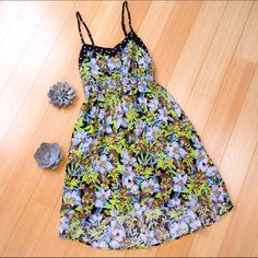 """Sundress, cute and funky, S Cute lightweight summer dress in size Small. Smocked back, adjustable straps, fun colors. Great condition.  Dress length is about 35"""" in front, 40"""" in back. Dresses Midi"""