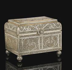 An Indo-Portuguese silver filigree casket, India, Probably Goa, 17th/18th century Estimate  10,000 — 15,000  GBP