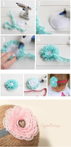 fabric flowers, handmade flowers are made of lace, pattern Handmade Flowers, Diy Flowers, Fabric Flowers, Tulle Fabric, Ribbon Flower, Lace Ribbon, Fabric Flower Headbands, Baby Headbands, Ribbon Crafts
