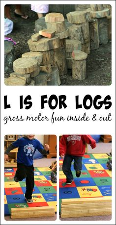 Preschool gross motor activities using logs and blocks - great ideas to get kids moving and perfect for kids who need heavy work activities for proprioceptive input