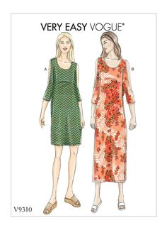 3235eb5fbf3 V9310 Loose-fitting summer dress with cut out sleeves  voguepatterns  sewing  pattern Vogue