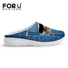 Exclusive Summer Slippers For Women Blue Jeans Cat Printing Sandal Slipper Breathable Flexible Walking Outdoor Pantufas Adulto