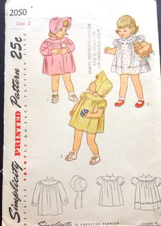 Simplicity 2050 1940s Toddlers Dress Coat and Hat Bonnet Girls vintage sewing pattern by mbchills