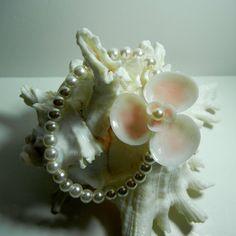 Seashell Wrist Corsage  Pink Seaflower   Seashell by ShellScapes