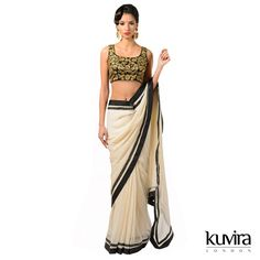KL-BK55 - Ready belt georgette sari with fully embroided blouse. Customisation options available with a made to measure service! Email info@kuviralondon.com for further information.