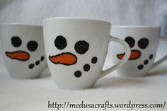snowman cups Medusa, Snowman, Cups, Tableware, Crafts, Jellyfish, Mugs, Dinnerware, Dishes