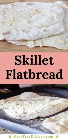 Make your own flatbread at home with this easy recipe. Soft and supple yeast dough is quickly cooked in a skillet or electric griddle. Perfect for sandwiches, flatbread pizzas, or serving with hummus. Healthy Homemade Bread, Healthy Bread Recipes, Pantry Items Recipe, Easy Tortilla Recipe, Easy Flatbread Recipes, Mediterranean Recipes, Kitchen Recipes, Dessert Recipes, Skillet