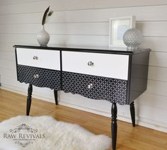 Black and white stenciled sideboard. Stenciled dressing table. Furniture upcycle furniture DIY