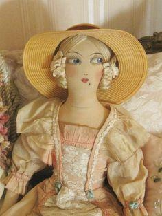 Antique French Boudoir Doll - Hand Painted Face - Original Peach Dress -  Ribbonwork Trim & Lace