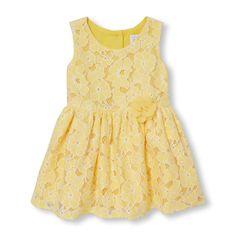 Toddler Girls Sleeveless 3D Flower Lace Dress