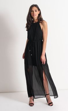Fashion  Evening Wear · Chiffon High Neck Maxi Black  392454060742