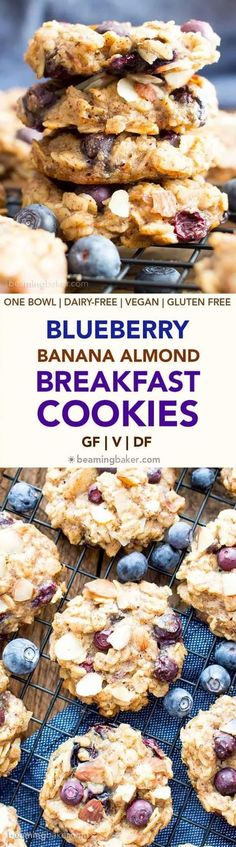 "Gluten-Free Blueberry Banana Almond Breakfast Cookies   Here is a tasty breakfast bursting with the healthy goodness of bananas  and blueberries with the crunchiness of almonds. But that's not all —  these breakfast cookies are gluten- and dairy-free, which make them an  ideal mainstay fare on a healthy table. As an added goodness, it's easy  to bake!  Meal Planning ideas for a healthy (and easy to make) Breakfast your family will love "" healthy breakfast meal prep ideas #mealplanning… Banana Breakfast Cookie, Blueberry Breakfast, Blueberry Oat Bars, Breakfast Cookie Recipe, Blueberry Cookies, Banana Oatmeal Cookies, Healthy Cookies, Cookies Vegan, Dairy Free Cookies"
