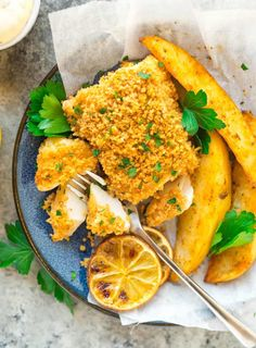 Healthy baked Fish and Chips is an easy recipe that's crispy on the outside, tender and flaky on the inside, and a family favorite! Everyone will enjoy this delicious twist on the classic dish! Healthy Baked Fish Recipes, Best Fish Recipes, Cod Fish Recipes, Fried Fish Recipes, Seafood Recipes, Cooking Recipes, Fish And Chips Rezept, Fish And Chips Baked, Baked Chips