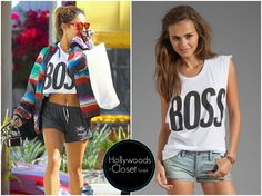 Vanessa Hudgens | Studio City After a early morning workout Vanessa showed off her fab stomach. Vanessa wore a crop version of the Lovers + Friends Boss graphic Tank. This was from Revolve Clothing but is sadly sold out. You can view this here