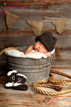 Brown Cowboy Hat and Western Boots  Newborn thru 12 month size available, Excellent Photo Prop. $45.00, via Etsy. #Artsandcrafts